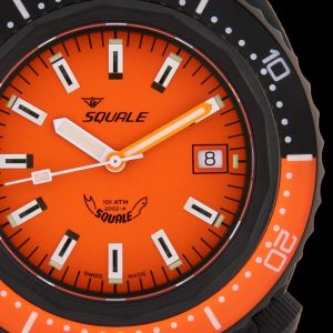 Squale 101 atmos 2002 Orange Dial Black PVD Case Dive Watch